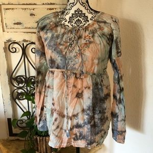 Lucky brand peach and blue embroidered tunic